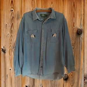 Hunt Club Cowgirl Embroidered Denim Button Down